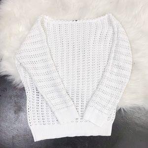 Free People Open Knit White Dolman Sleeve Sweater